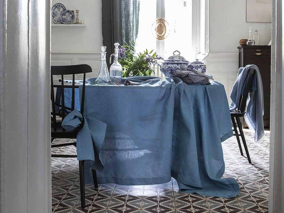 Florence Aegean Blue Table Linens by Alexandre Turpault