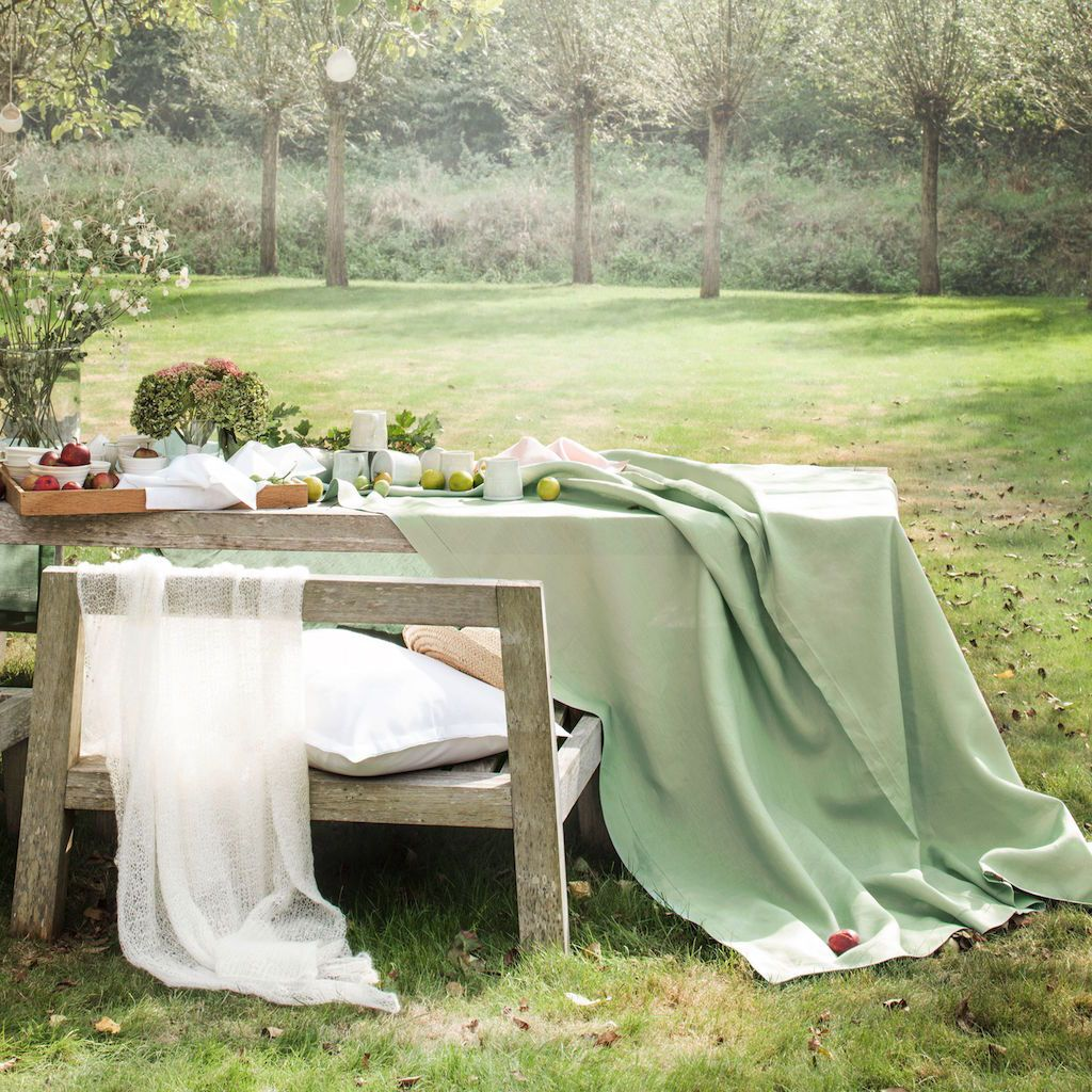 Florence Sage Green Table Linens by Alexandre Turpault