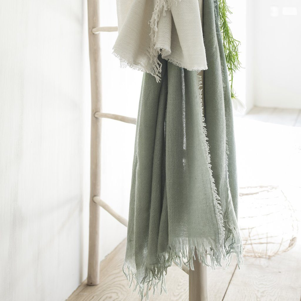 Lifestyle shot - Loulou Eucalyptus Throw by Alexandre Turpault | Fig Linens and Home