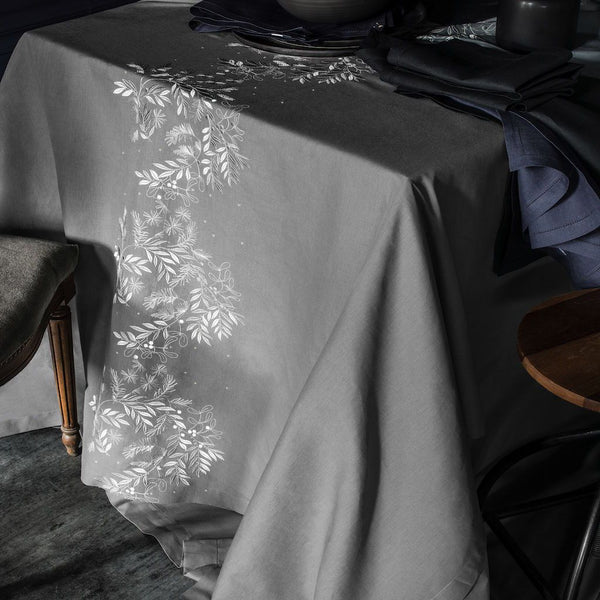 Saisons Dark Dove Tablecloth and Table Runner by Alexandre Turpault | Fig Linens