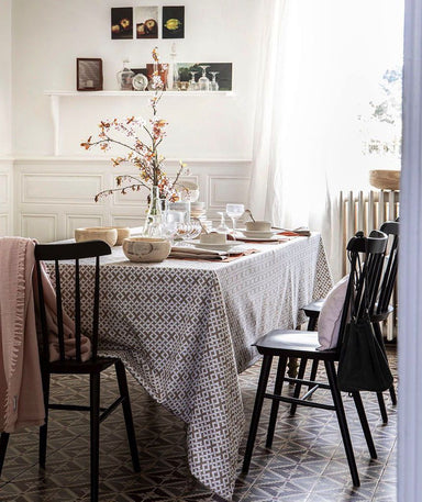 Tribu Taupe Tablecloth by Alexandre Turpault | Fig Linens and Home