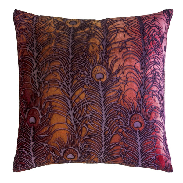 Wildberry Peacock Feather Decorative Pillow by Kevin O'Brien Studio - Fig Linens