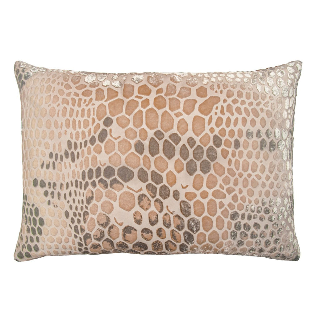 Latte Snakeskin Velvet Pillow by Kevin O'Brien Studio | Fig Linens