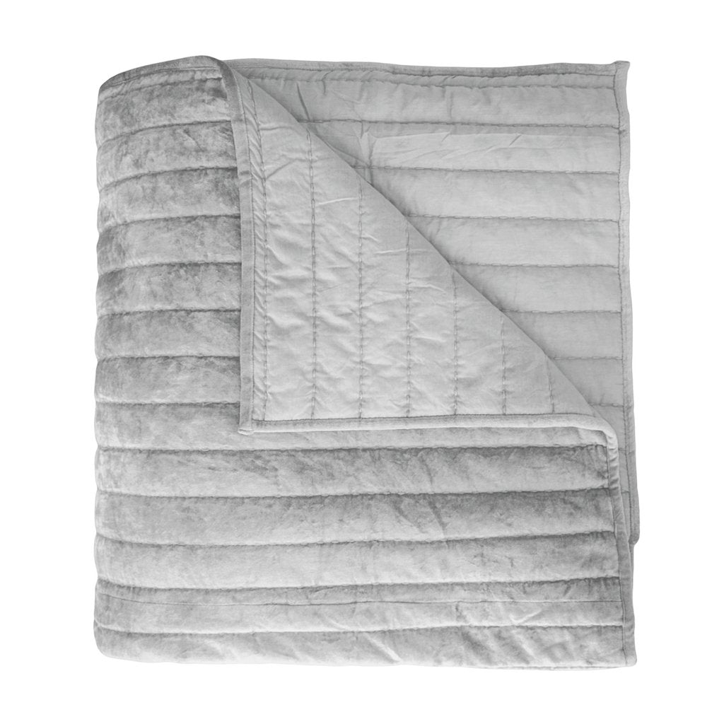 Channel Grey Velvet Quilt by Kevin O'Brien Studio | Fig Linens