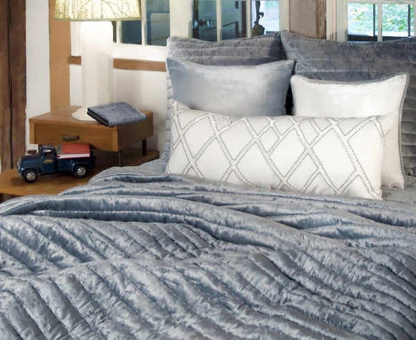 Channel Mineral Velvet Quilt by Kevin O'Brien Studio | Fig Linens