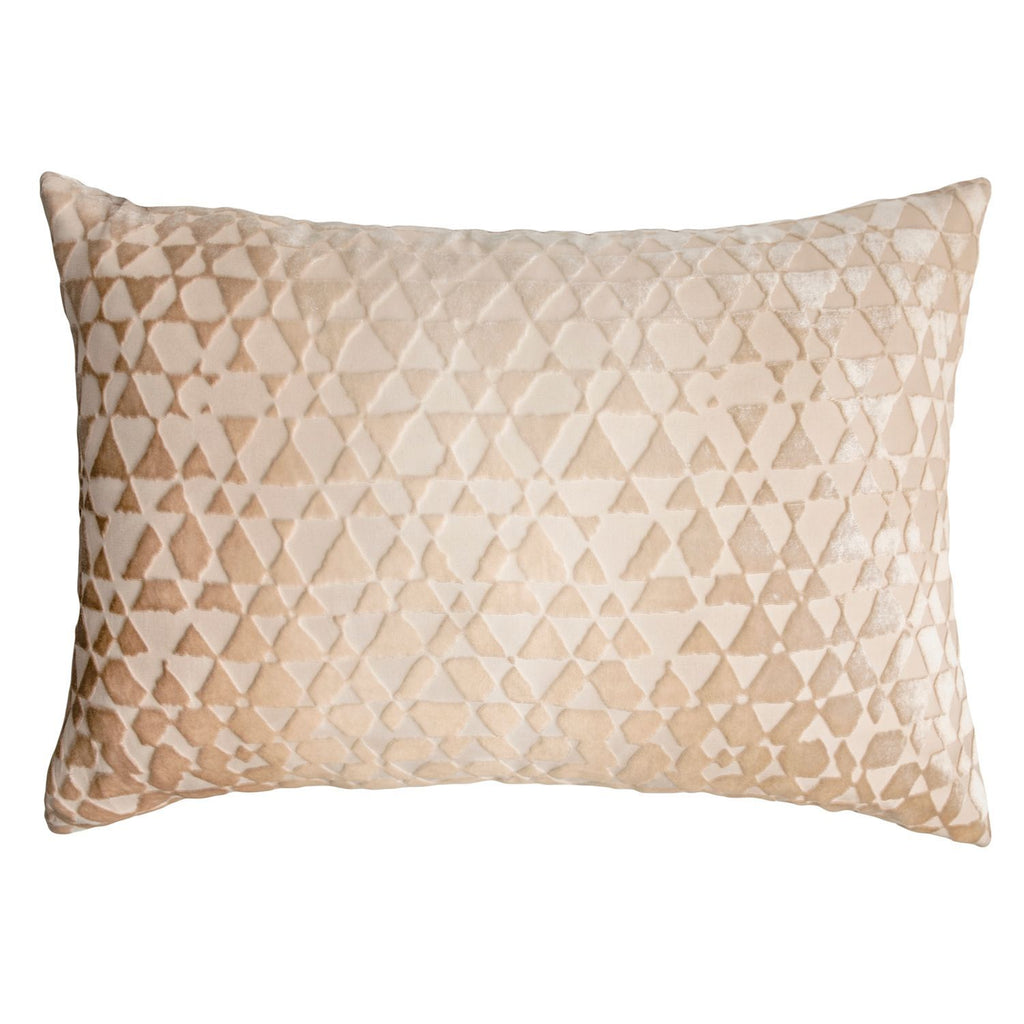 Latte Triangles Velvet Pillow by Kevin O'Brien Studio | Fig Linens