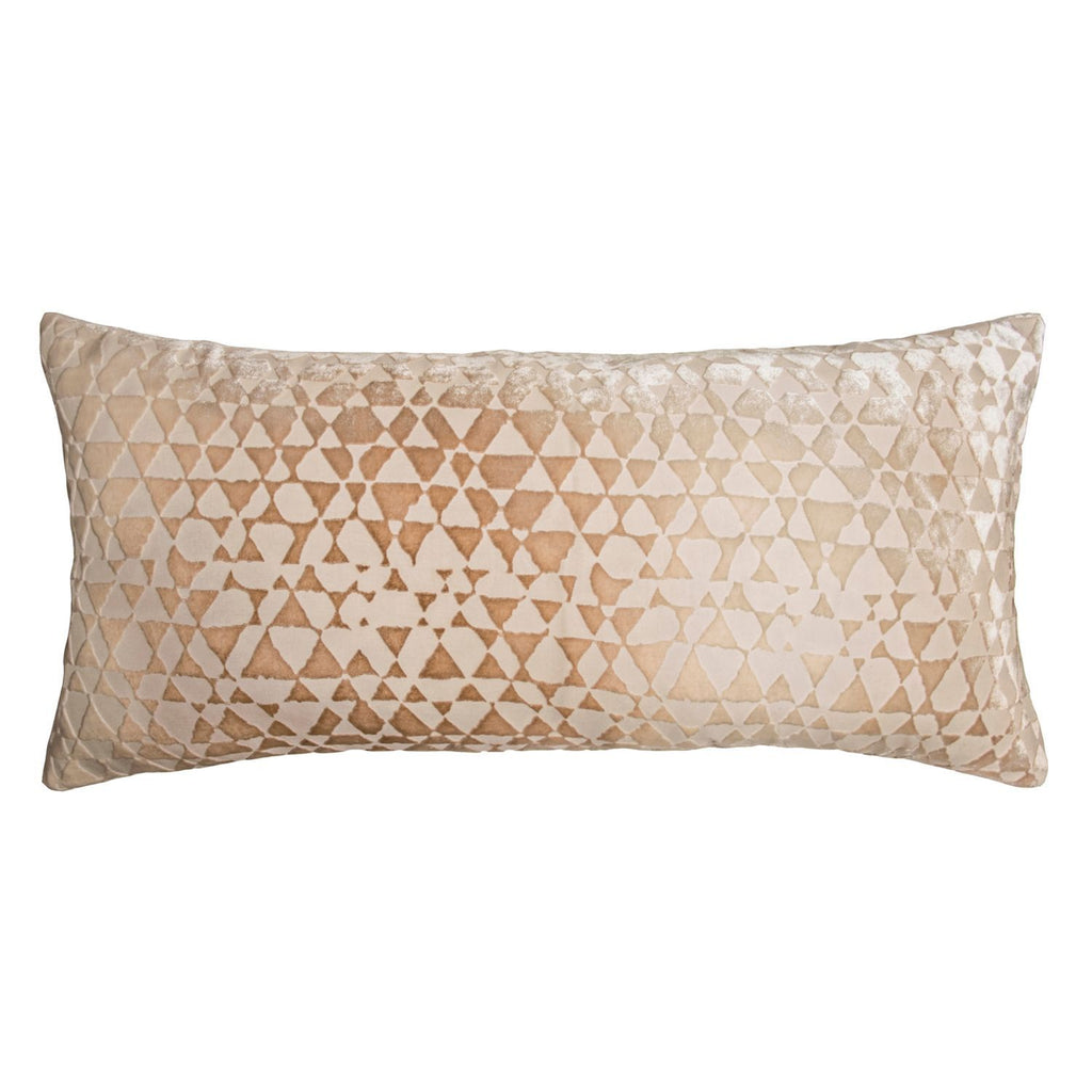 Latte Triangles Velvet Decorative Pillow by Kevin O'Brien Studio | Fig Linens
