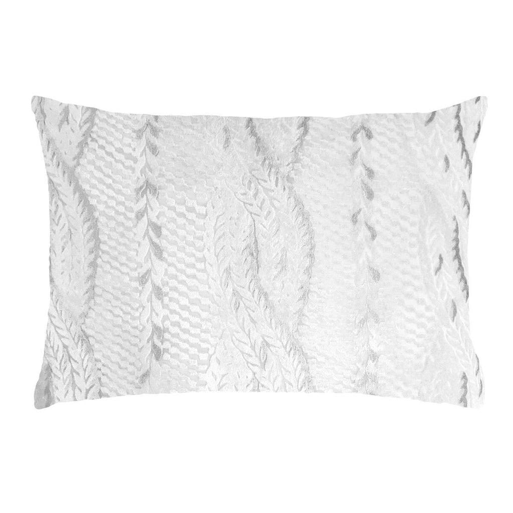Fig Linens - White Cable Knit Velvet Decorative Pillows by Kevin O'Brien Studio