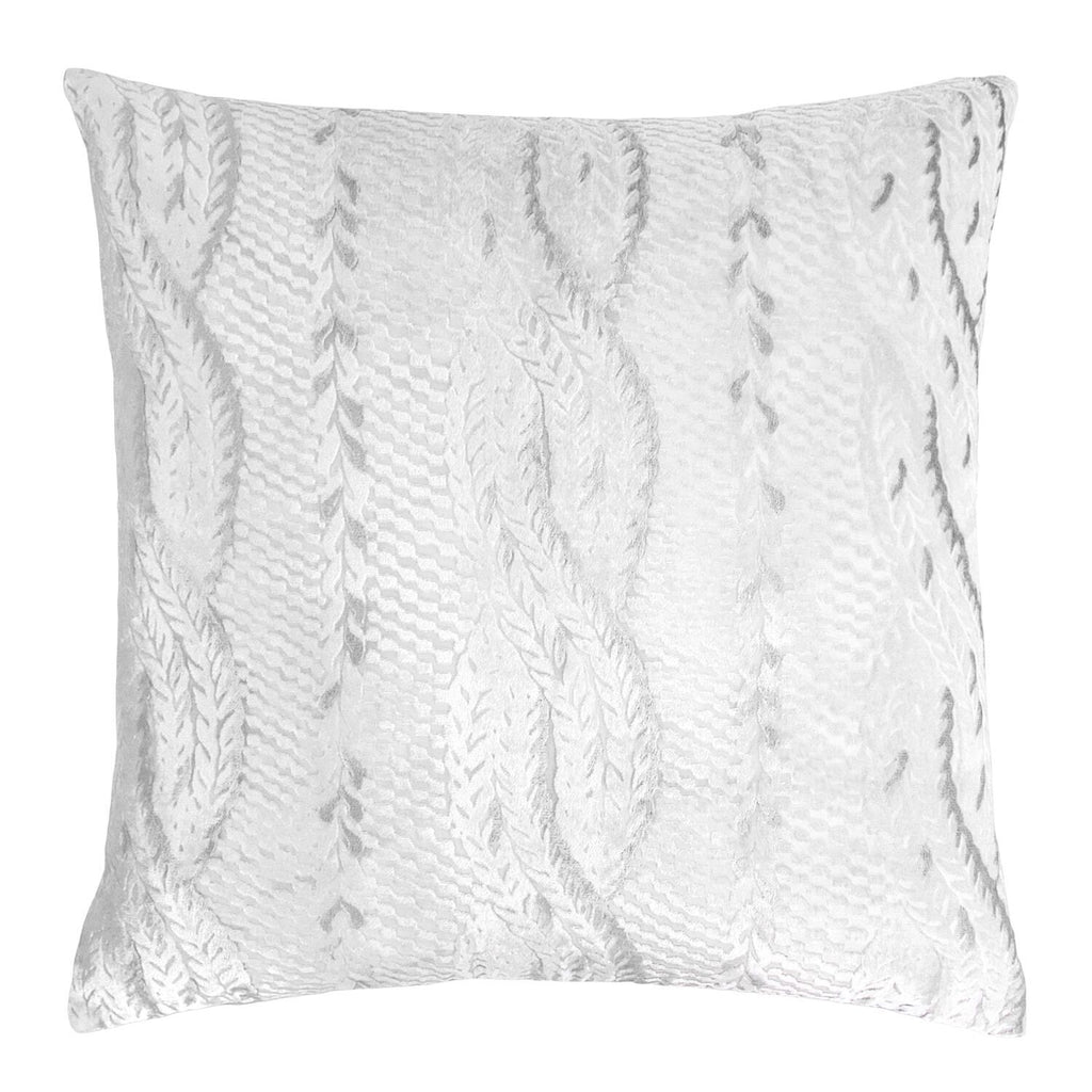 White Cable Knit Decorative Pillows by Kevin O'Brien Studio - Fig Linens