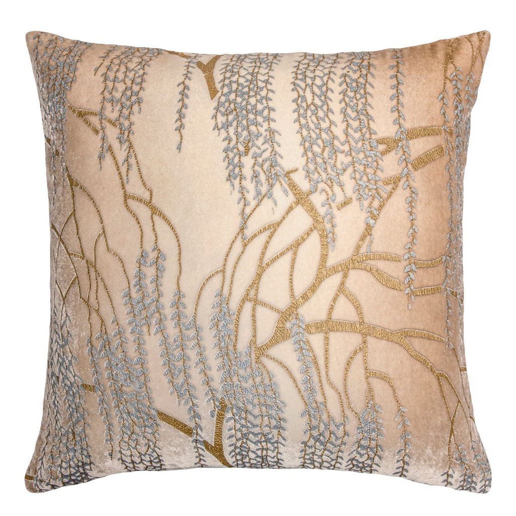 Latte Willow Metallic Pillow by Kevin O'Brien Studio | Fig Linens