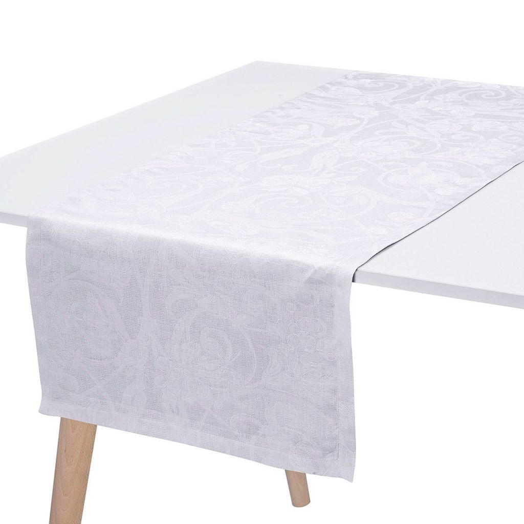 Tivoli White Table Runner by Le Jacquard Français | Fig Linens