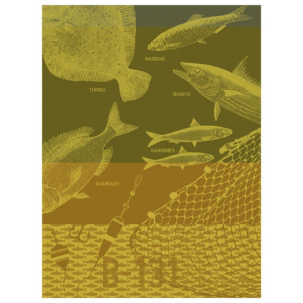 Fig Linens - Peche En Mer Breton Raincoat Tea Towels by Le Jacquard Français