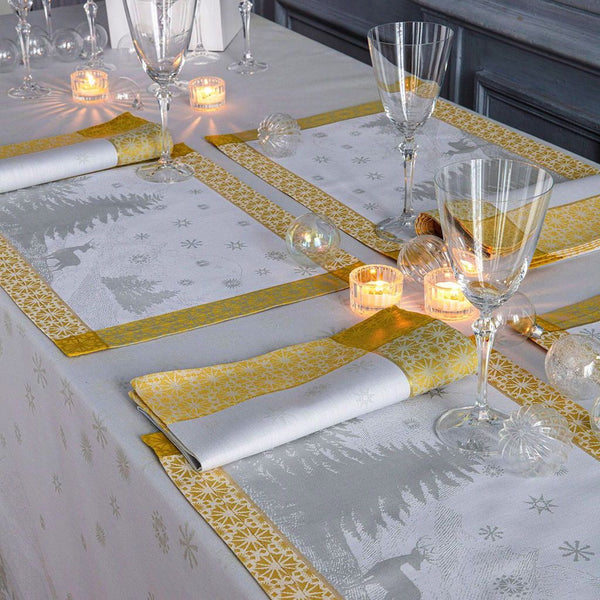 Fig Linens - Sommets Enneigés Snow Table Placemats by Le Jacquard Français