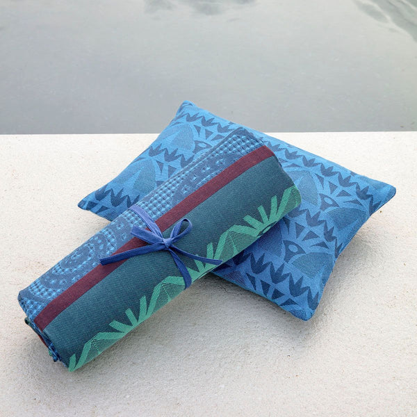 Holi Sapphire Outdoor Pillow and Beach Towel by Le Jacquard Français | Fig Linens