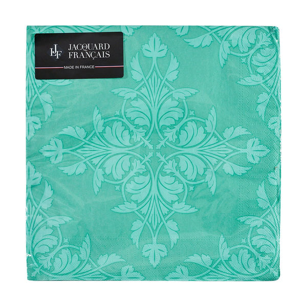 Set of 20 - Syracuse Aqua Paper Napkins by Le Jacquard Français | Fig Linens