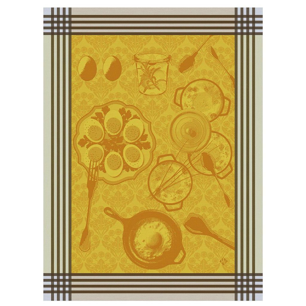 Oeufs Recette Egg Tea Towels by Le Jacquard Français | Fig Linens