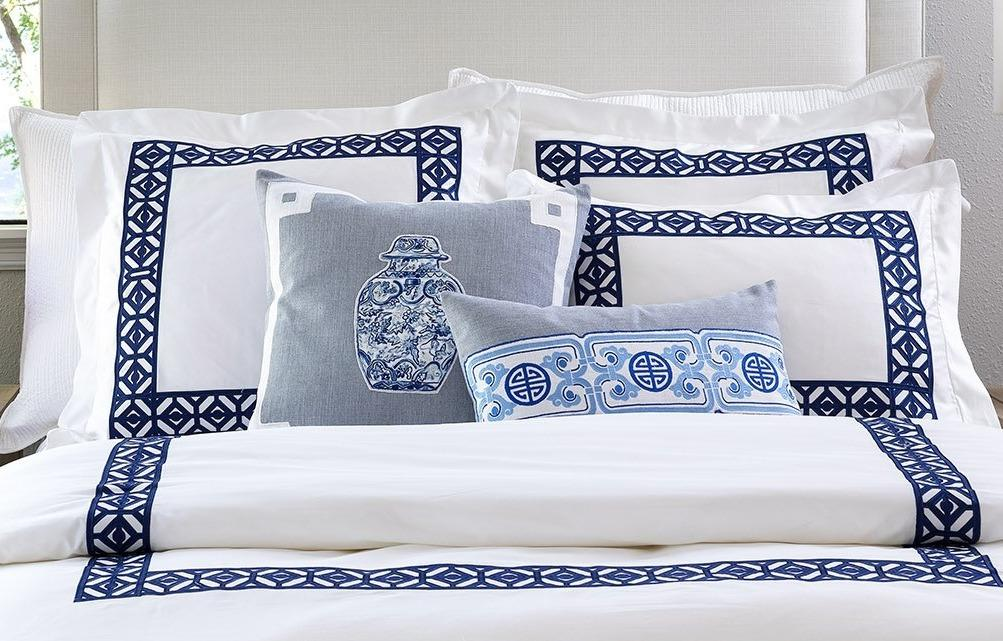 Kylie White & Ink Blue Bedding by Lili Alessandra | Fig Linens
