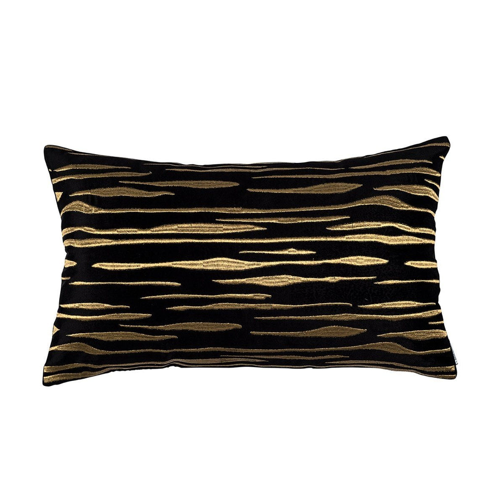 Fig Linens - Lili Alessandra Bedding - Zara Black and Gold Pillow