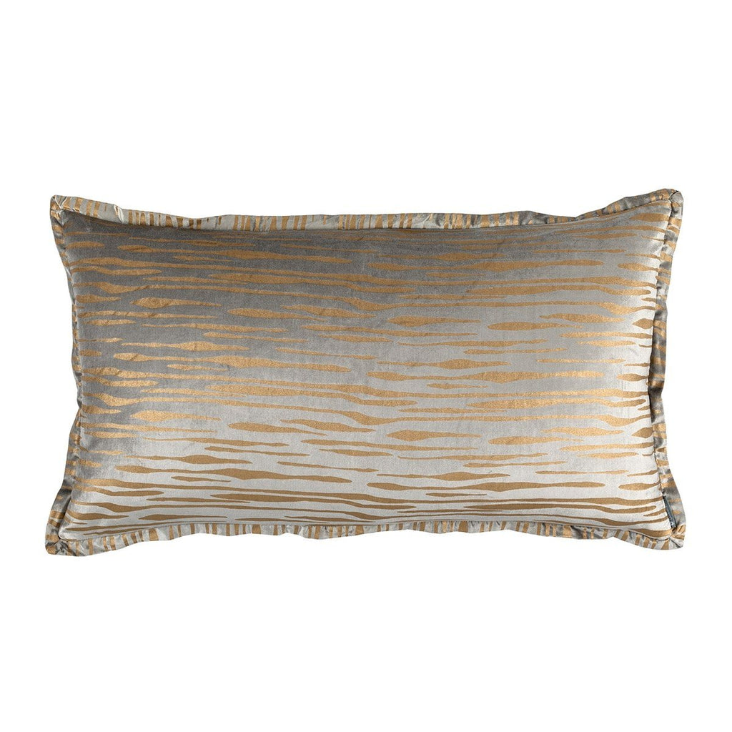 Fig Linens - Lili Alessandra Bedding - Zara Light Grey Velvet and Gold King Pillow