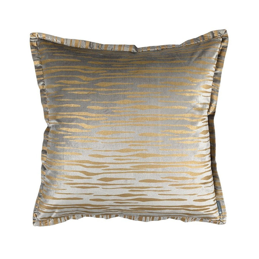Fig Linens - Lili Alessandra Bedding - Zara Light Grey Velvet and Gold Euro Pillow