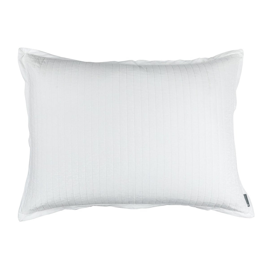Fig Linens - Lili Alessandra Bedding - Aria White Luxe Euro Pillow