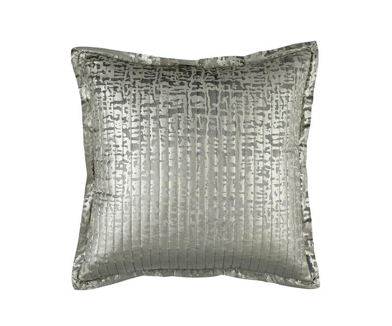 Fig Linens - Lili Alessandra Jolie Silver Quilted Euro Pillow