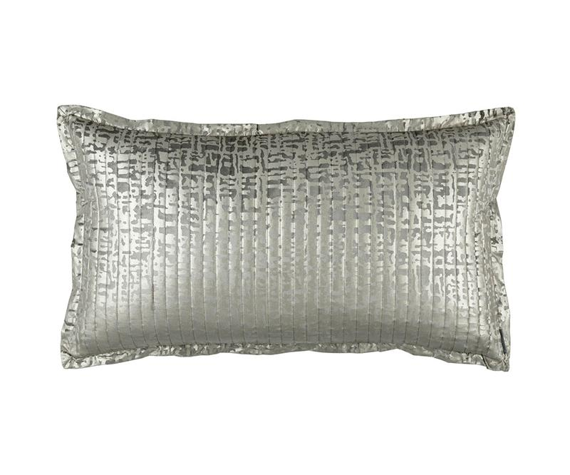 Fig Linens - Lili Alessandra Jolie Silver Quilted King Pillow