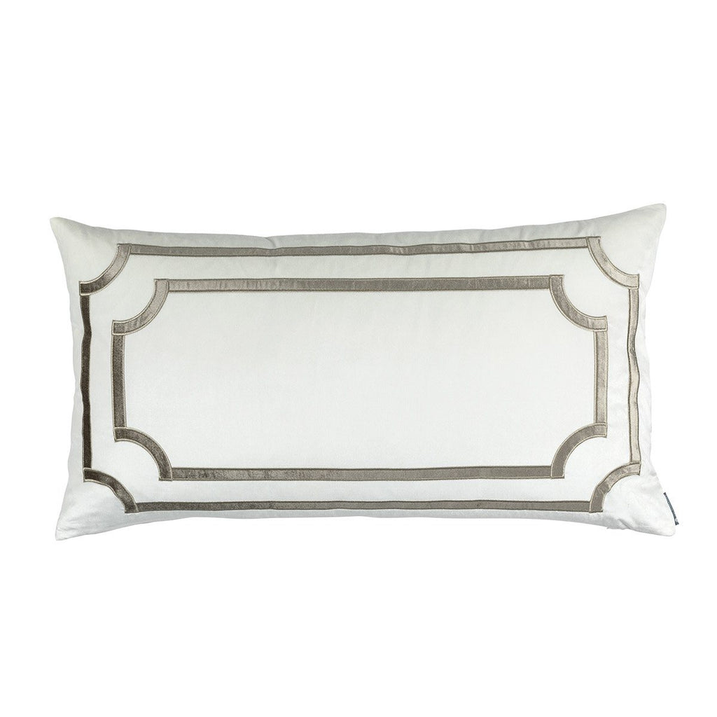 Fig Linens - Lili Alessandra Bedding - Soho Ivory and Fawn Velvet King Pillow
