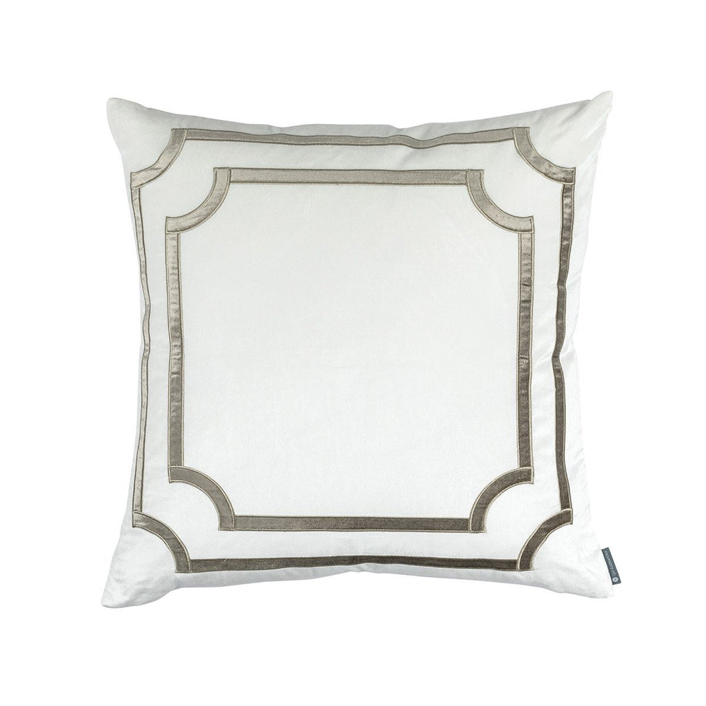 Fig Linens - Lili Alessandra Bedding - Soho Ivory and Fawn Velvet Euro Pillow