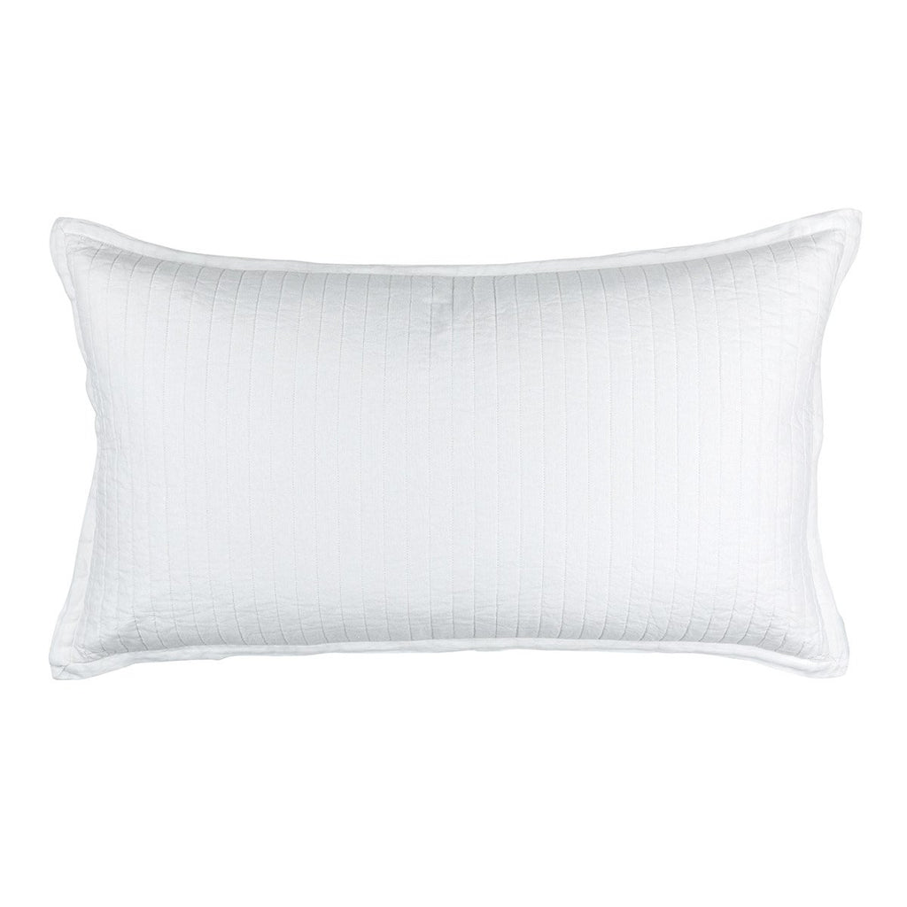 Fig Linens - Lili Alessandra Bedding - Tessa White Quilted King Pillow