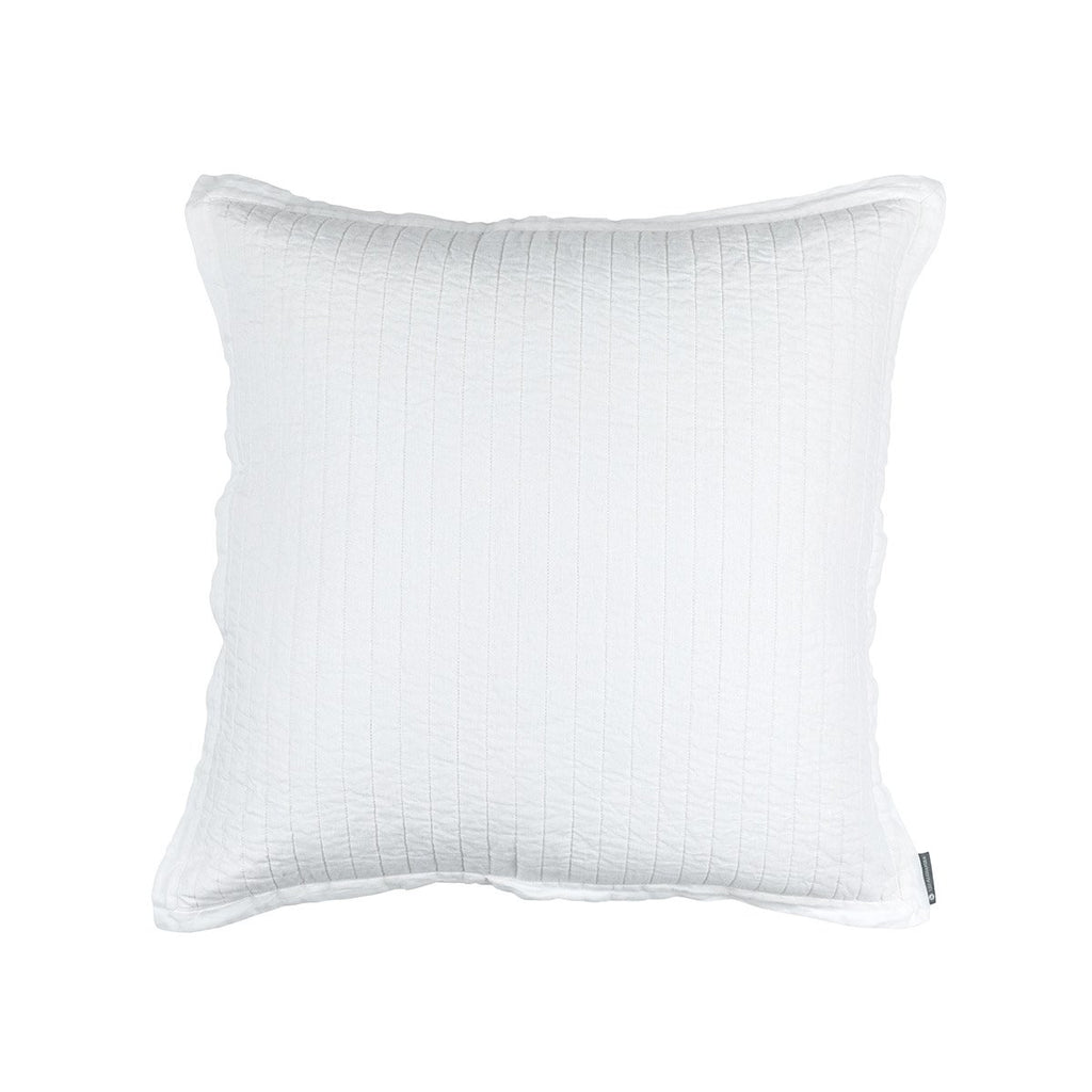 Fig Linens - Lili Alessandra Bedding - Tessa White Quilted Euro Pillow
