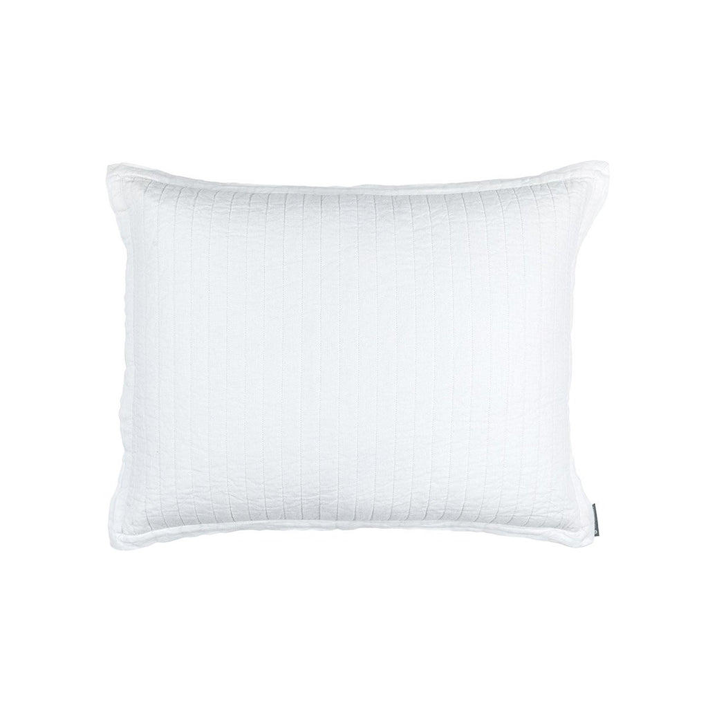 Fig Linens - Lili Alessandra Bedding - Tessa White Quilted Standard Pillow