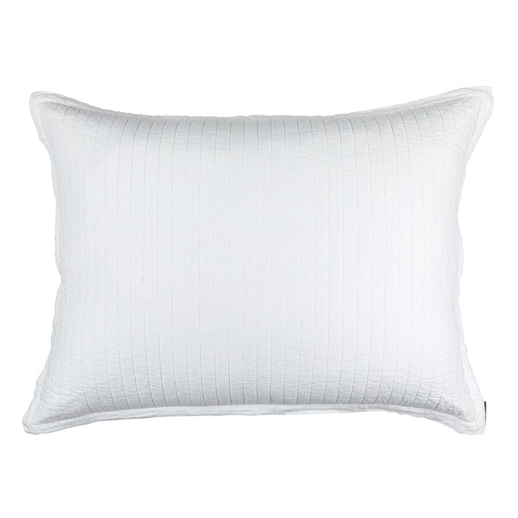 Fig Linens - Lili Alessandra Bedding - Tessa White Quilted Luxe Euro Pillow