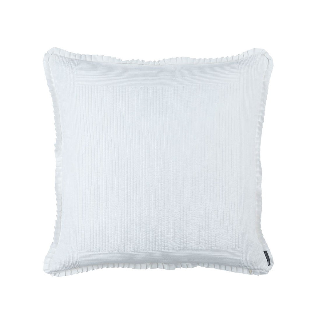 Fig Linens - Lili Alessandra Bedding - Battersea White Quilted Euro