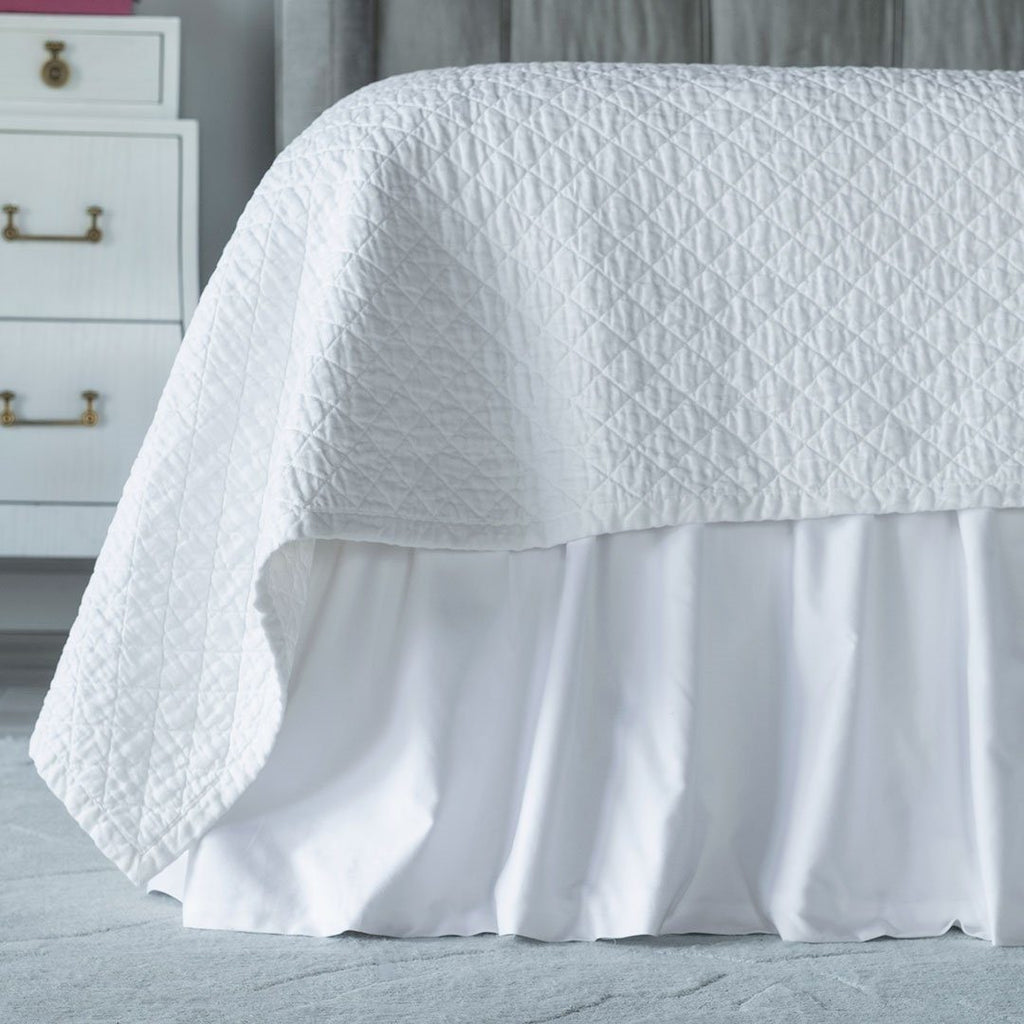Fig Linens - Lili Alessandra Bedding - Battersea White Bedskirt