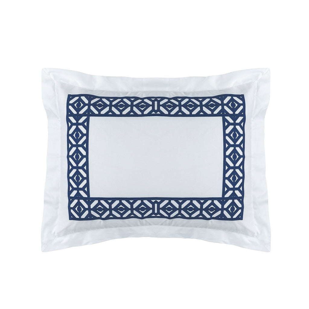 Fig Linens - Lili Alessandra Bedding - Kylie White and Blue Standard Sham