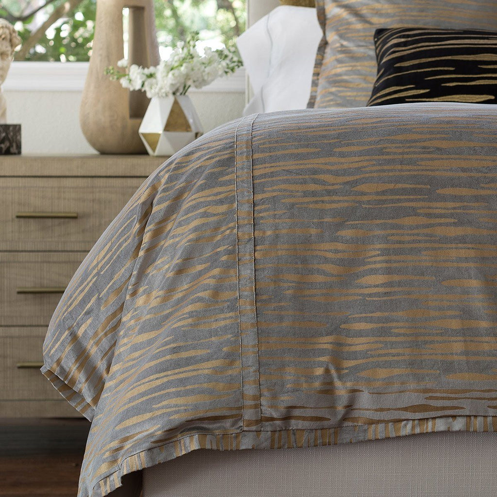 Fig Linens - Lili Alessandra Bedding - Zara Light Grey Velvet and Gold Duvet