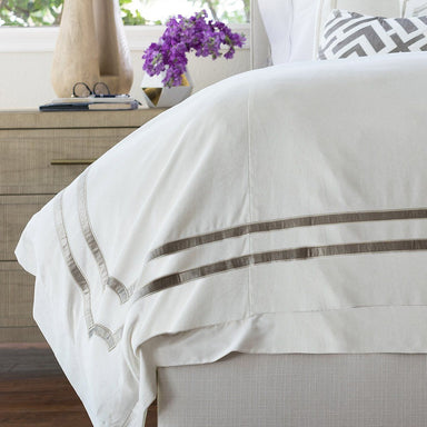 Fig Linens - Lili Alessandra Bedding - Soho Ivory and Fawn Velvet Duvet