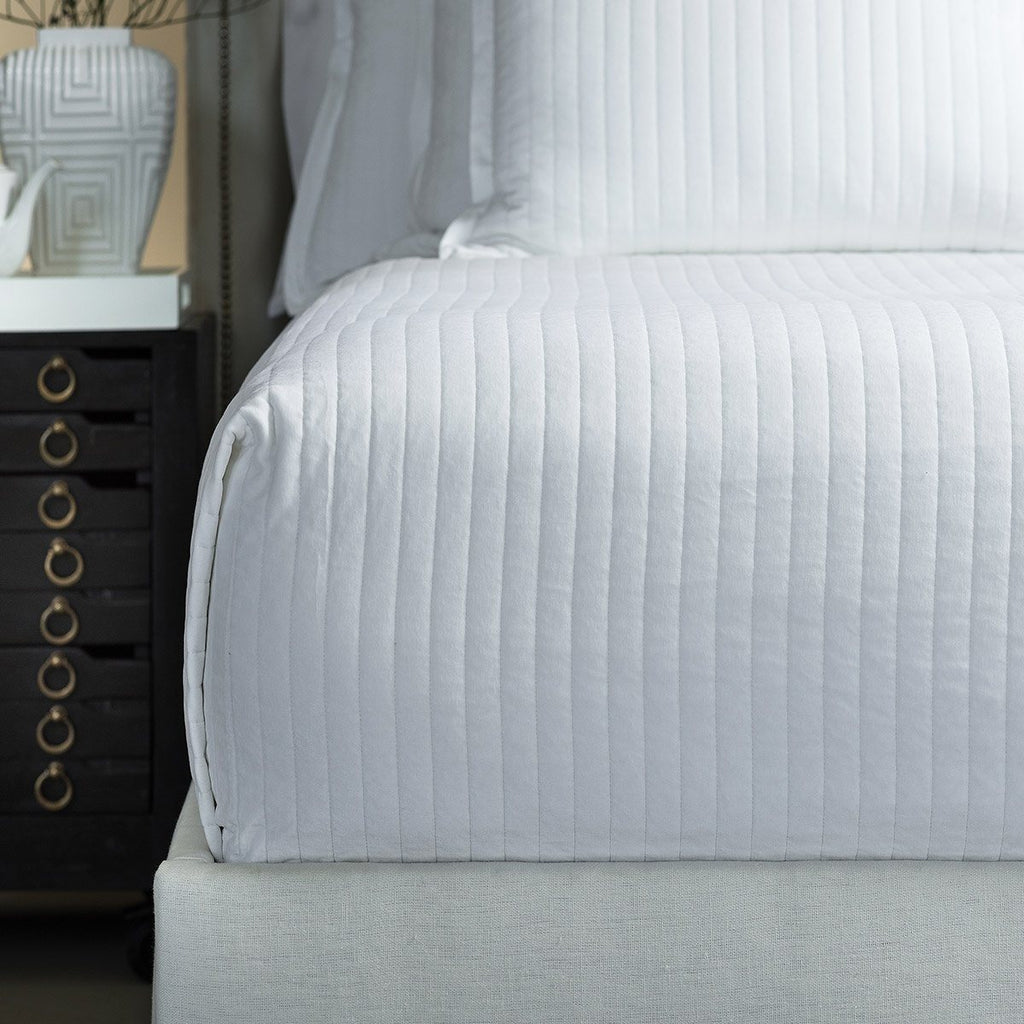 Fig Linens - Lili Alessandra Bedding - Aria White Coverlet