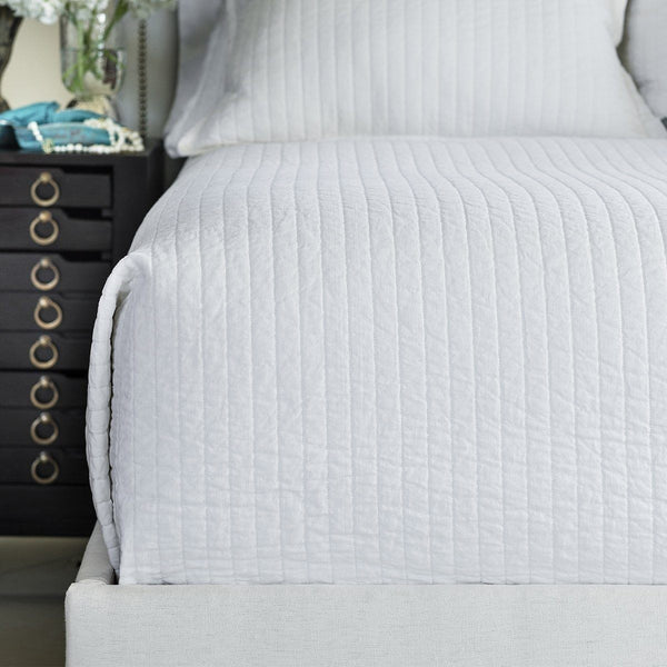 Fig Linens - Lili Alessandra Bedding - Tessa White Quilted Coverlet
