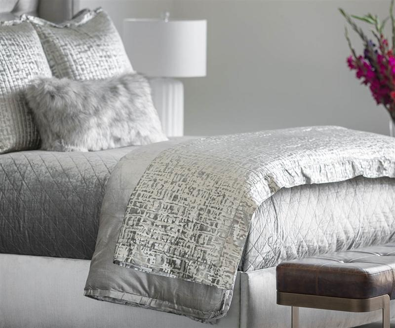 Jolie Silver Quilted Throw & Pillows by Lili Alessandra | Fig Linens