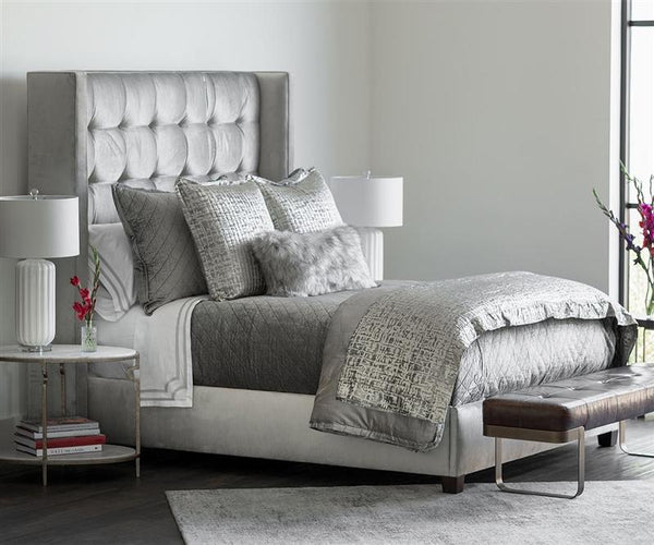 Fig Linens - Lili Alessandra Jolie Silver Quilted Throw