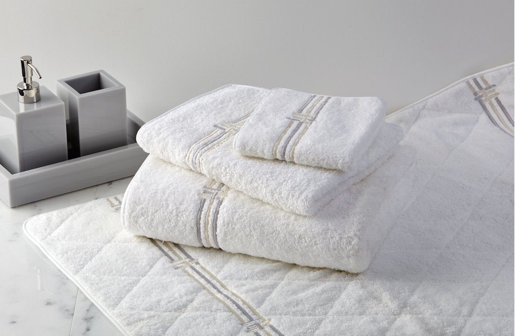 Fig Linens - Panama Terry Embroidered Bath Towels by Dea Linens