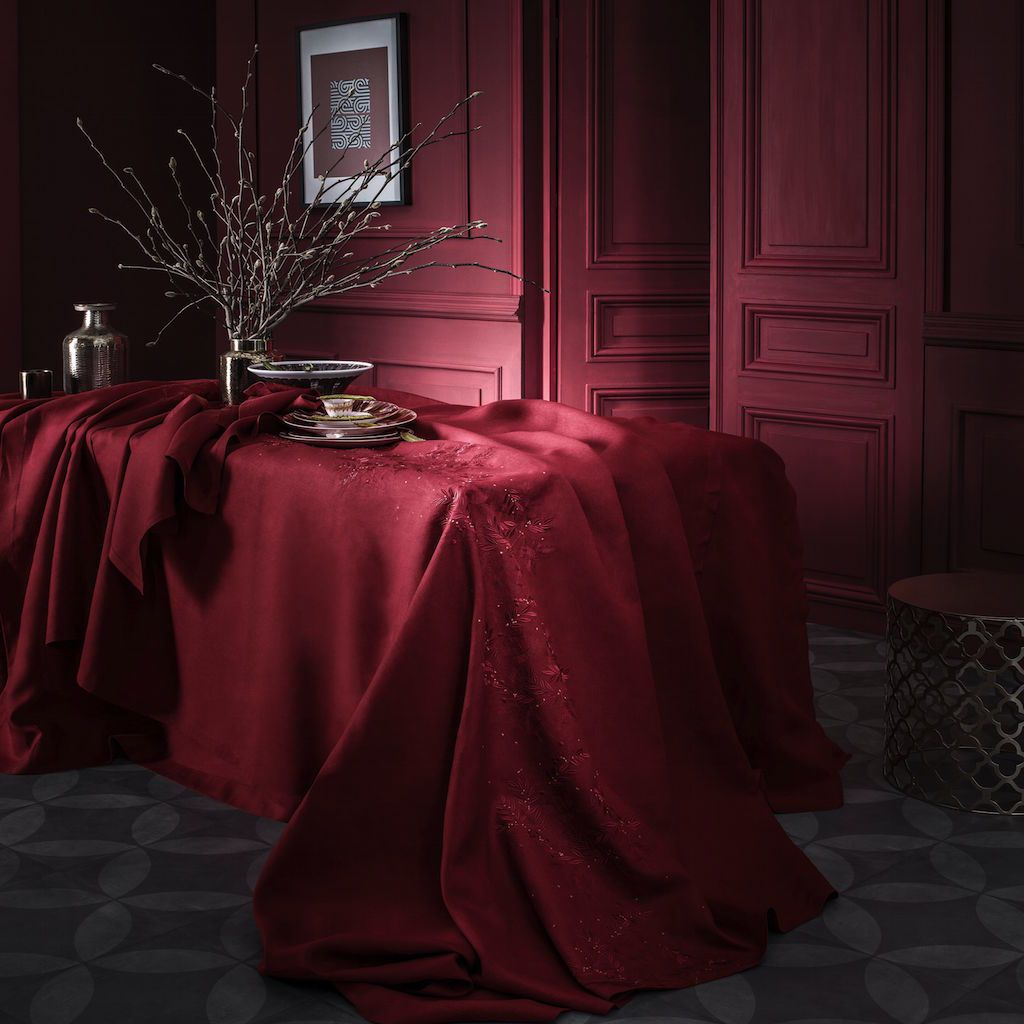 Saisons Cranberry Tablecloth by Alexandre Turpault | Fig Linens
