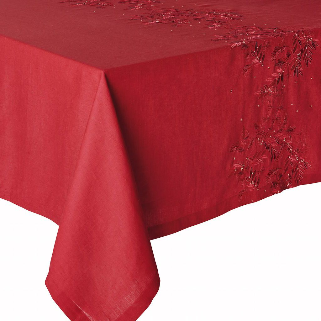 Fig Linens - Alexandre Turpault Saisons Cranberry Tablecloth