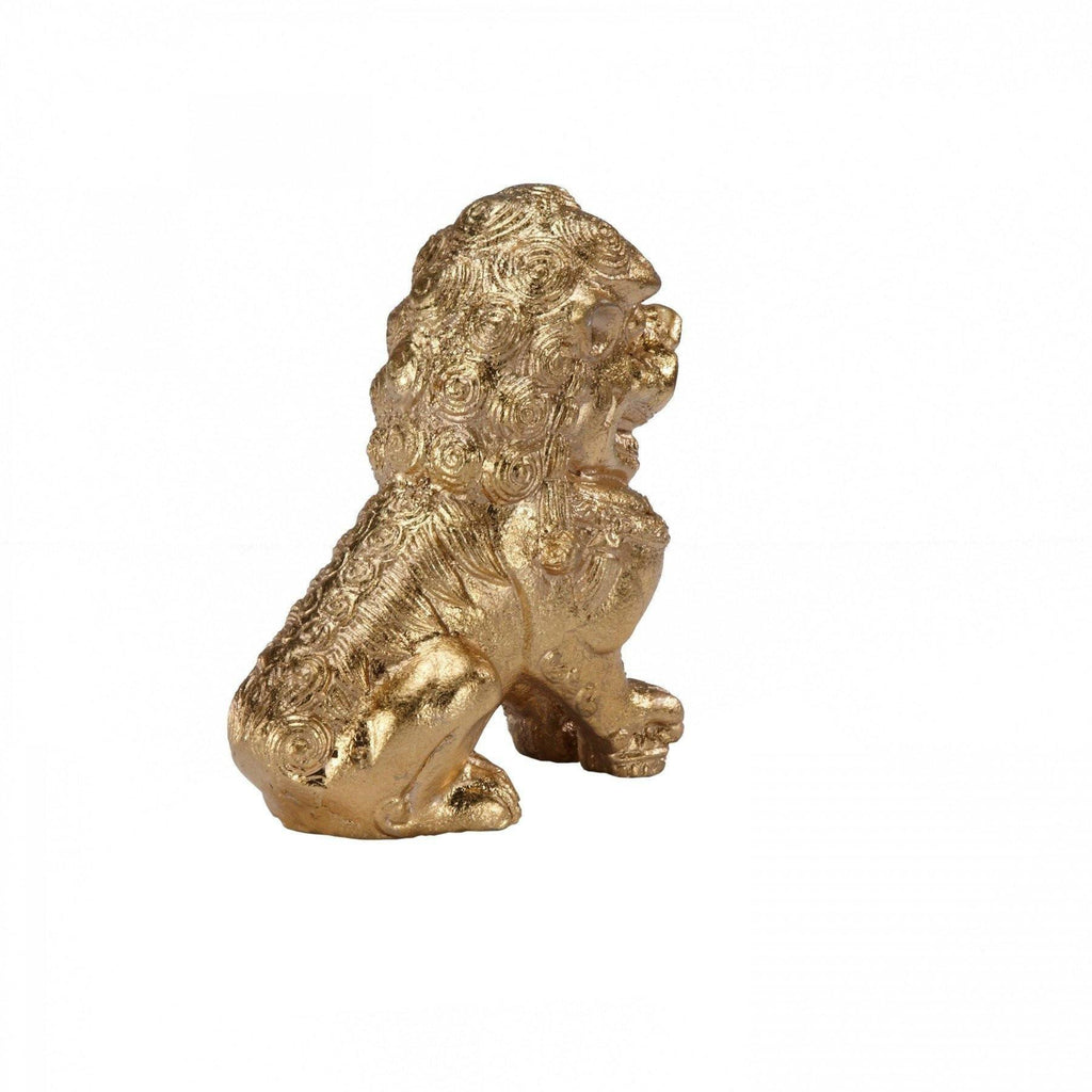 Pair of Foo Dog Gold Bookends - Worlds Away - Fig Linens