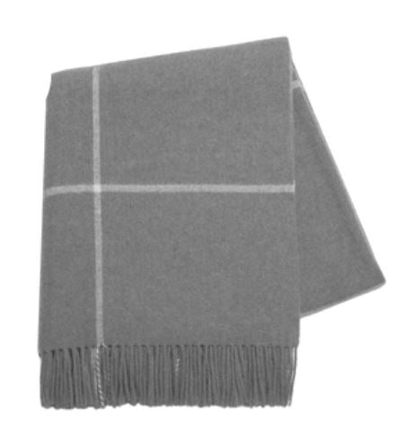 Gray Windowpane Cashmere Throw by Lands Downunder
