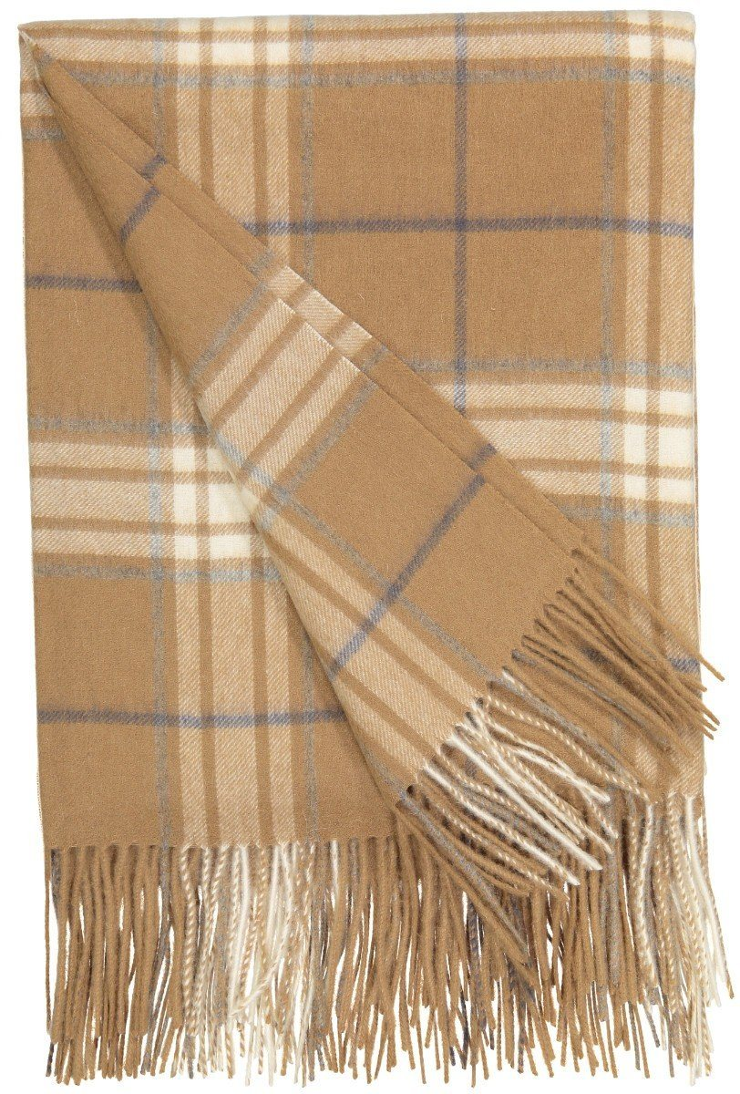 Rocky Mountain Plaid Throw in Camel - Alashan at Fig Linens