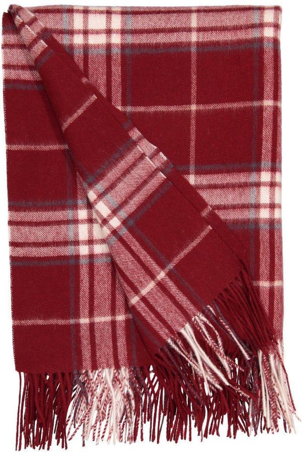 Rocky Mountain Plaid Throw in Claret - Alashan at Fig Linens