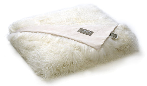 Tibetan Sheepskin Throw in Ivory